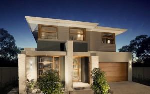 fachada de casa moderna con columnas de piedra