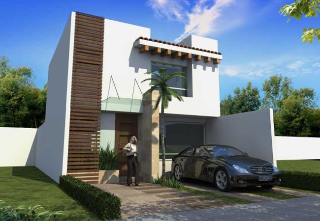 11 fachadas de casas modernas con garaje fachadas de for Piedras para fachadas minimalistas