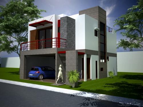 11 fachadas de casas modernas con garaje fachadas de for Plantas minimalistas para exteriores