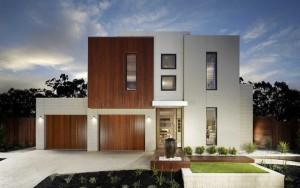 Fachada de casa moderna con ventanas rectangulares