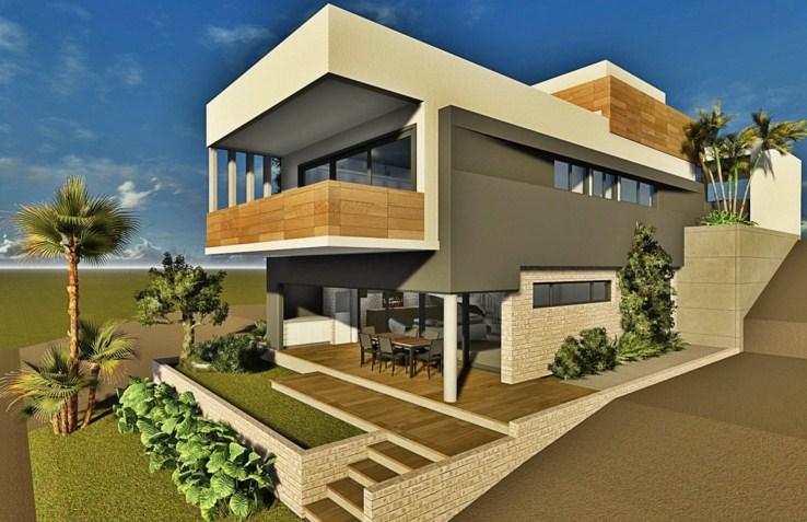 11 fachadas de casas modernas en desnivel fachadas de - Casa con terreno ...